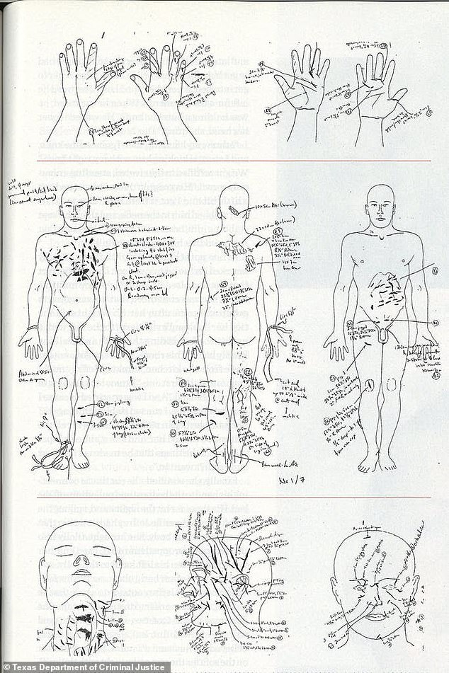 Drawings from the autopsy report show numerous stab wounds on the body