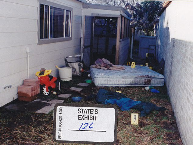 The young mother of two dumped this bloody mattress in her family's backyard. In 2004, Susan Wright testified that her husband, Jeff, abused her
