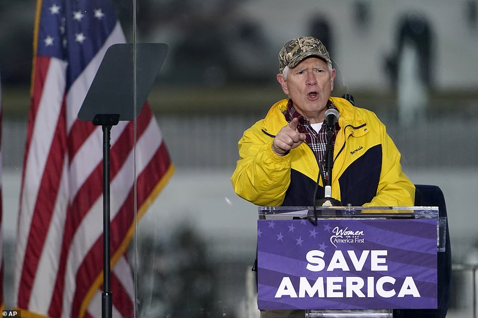 House Rep. Mo Brooks, a Republican from Alabama, speaks on Wednesday at a rally in support of President Donald Trump called the 'Save America Rally.' Brooks is one of the lawmakers leading the charge in Congress to dispute the Electoral College vote count