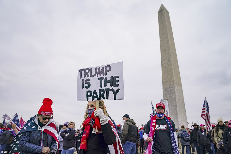 A woman is seen holding a sign that reads 'Trump is the party' as the president's supporters gather on the Washington Monument grounds