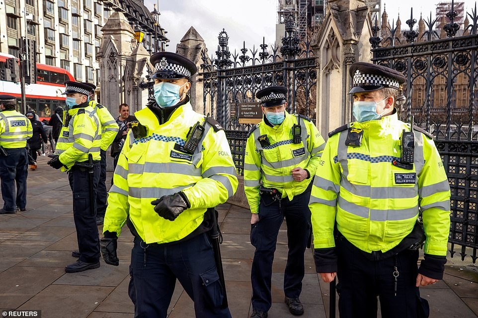 The Met had also said that it would act if there was a protest in Parliament Square and duly sent in officers to break it up