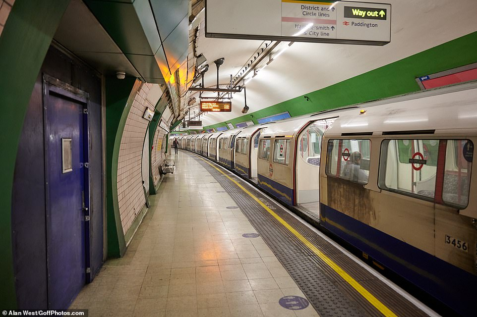 The Tube was also largely deserted in central London this morning as millions were ordered to stay at home