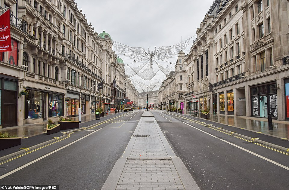 A deserted Regent Street in London yesterday as millions more worked from home again and schools all shut for seven weeks