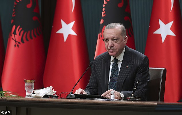 Turkey's President Recep Tayyip Erdogan, pictured on Wednesday. Turkey's foreign ministrycalled the events in the US 'worrying', saying 'we believe that the US will overcome this domestic crisis calmly'
