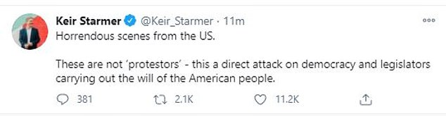 Keir Starmer, Leader of the UK Labour Party - the country's opposition party said: 'Horrendous scenes from the US. These are not 'protesters' - this a direct attack on democracy and legislators carrying out the will of the American people.'