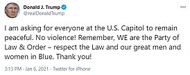 The chaotic scenes unfolded soon after Trump addressed thousands of protesters and urged his supporters to march to the Capitol. After protesters started clashing with law enforcement following the Capitol breach, Trump tweeted to his supporters to 'stay peaceful'