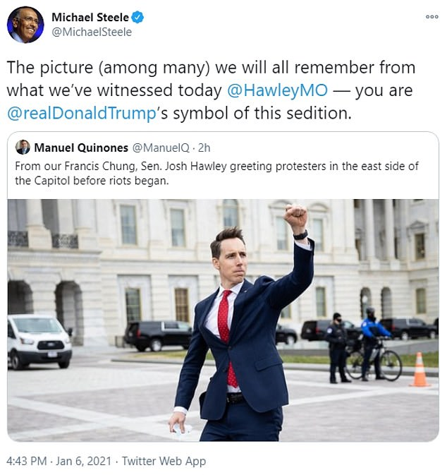 Former Republican National Committee Chairman Michael Steele said that the image of Sen. Josh Hawley raising his fist in support would become a 'symbol of sedition'