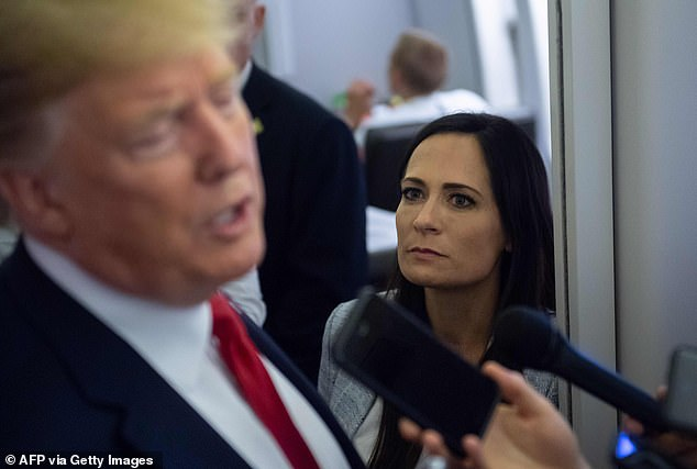 Stephanie Grisham on Air Force One with President Donald Trump in August 2019