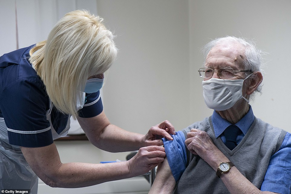 Guidance sent to doctors says the jabs should be their top priority ¿ with other ¿non-essential¿ activities postponed, potentially for weeks. Pictured, a patient is given the Oxford-AstraZeneca vaccine at Pontcae Medical Practice on January 4