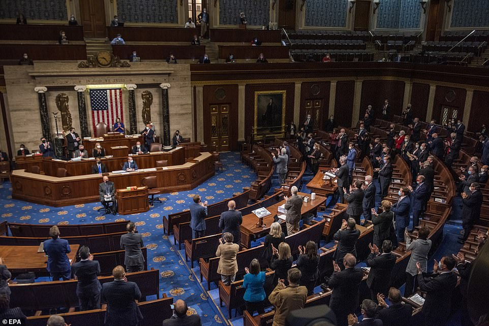 House Minority Leader Kevin McCarthy addresses Congress as they reconvene in the House chamber to debate Arizona's certification of electoral college votes Wednesday night