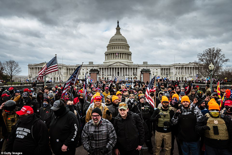 Pro-Trump protesters gather in front of the U.S. Capitol Building on January 6, 2021 in Washington, DC