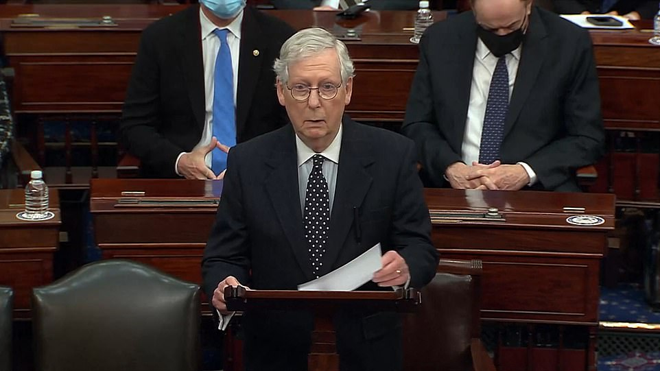 McConnell ridiculed President Donald Trump's claims of widespread voter fraud in a five-minute speech which will be one of his last as majority leader – and which he said was about the most important vote of his career