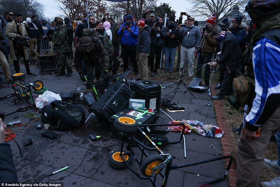 Some of the equipment that was left destroyed was branded Associated Press while reports on social media said Fox - once Trump's favorite outlet - had also been targeted