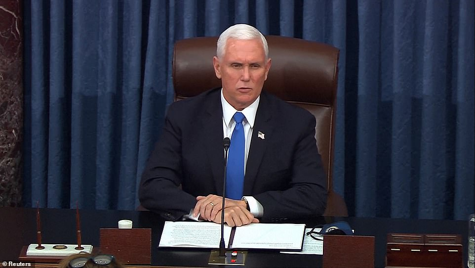 Vice President Mike Pence reopened the Senate condemning Wednesday's violent siege of Capitol Hill 'in the strongest possible terms' - but did not lay the blame on President Donald Trump for inciting the MAGA mob