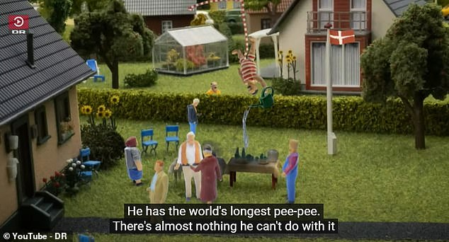 The first of the 13 episodes has been watched more than 140,000 times, and sparked debate over what is appropriate for children aged four to eight - the show's target audience. Pictured: John using his penis to water his neighbour's garden