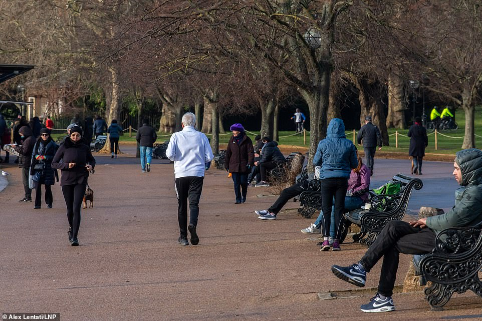 Hyde Park in London was busy yesterday and officers were seen approaching them to check their business