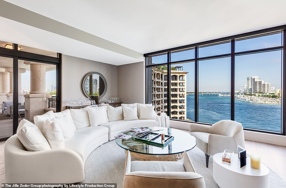 Five bedrooms:The 30-year-old retired tennis player and former NBA player David Lee, 37, bought the five-bedroom Fisher Island condo for $13.5 million in 2018 from the developer