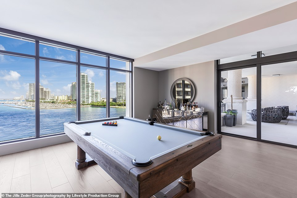 Pool room: A pool table was set up in a room with a view