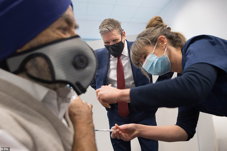 The Labour leader Sir Keir Starmer visited a vaccination centre at the Sir Ludwig Guttman Health and Wellbeing Centre in Stratford, east London, today to view the roll out