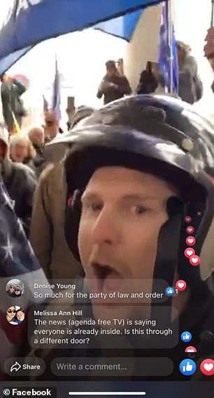 Evans, a newly elected state lawmaker from West Virginia, live-streamed as he and other die-hard pro-Trump supporters breached the front entrance of the US Capitol building on Wednesday while Congress convened to ratify President-elect Joe Biden's victory