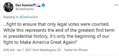 Scavino posted the statement after Trump's account was locked