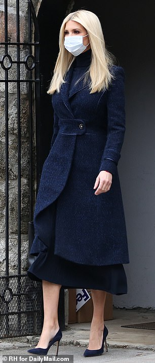Outfit of the day: The First Daughter donned a navy wool coat by Carolina Herrera and matching heels