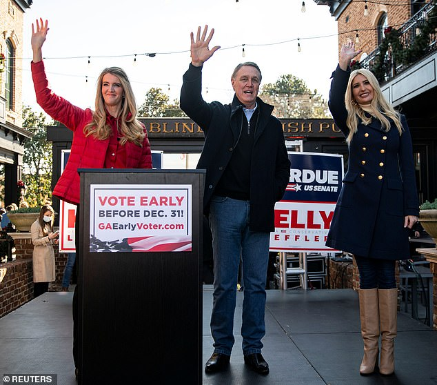 Wasn't enough:The projected Republican losses are likely a blow to Ivanka who visited Georgia multiple times to stump for Sen. Kelly Loeffler (left) and Sen. David Perdue (center)
