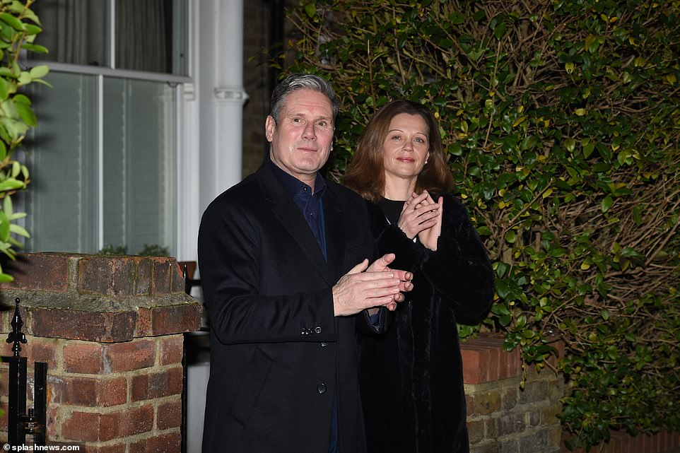 Labour leader Sir Keir Starmer and his wife Victoria Starmer take part in the first 'Clap For Heroes' outside their home in North London