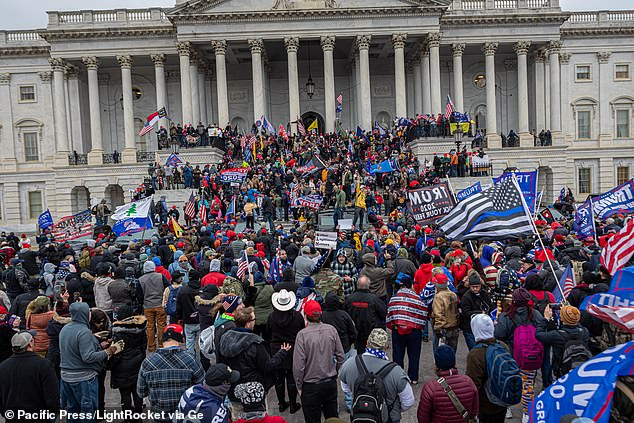 The chaotic scenes at the Capitol unfolded after hundreds of Trump's supporters converged on the Capitol in a bid to overturn his election defeat