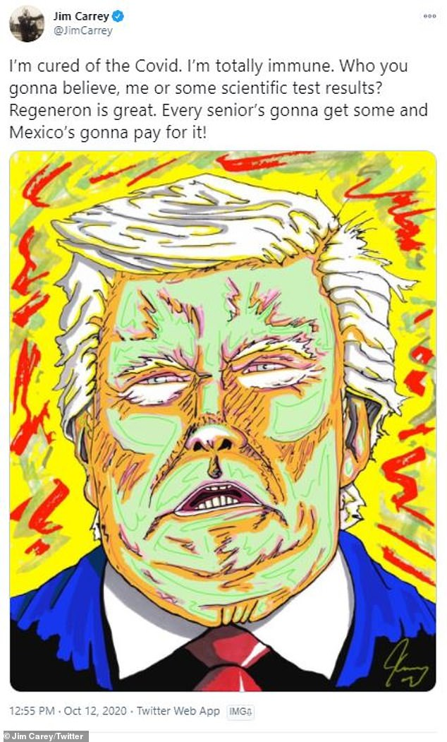Skills: Carrey picked up painting six years ago and has since shared a series of politically motivated drawings with his Twitter followers