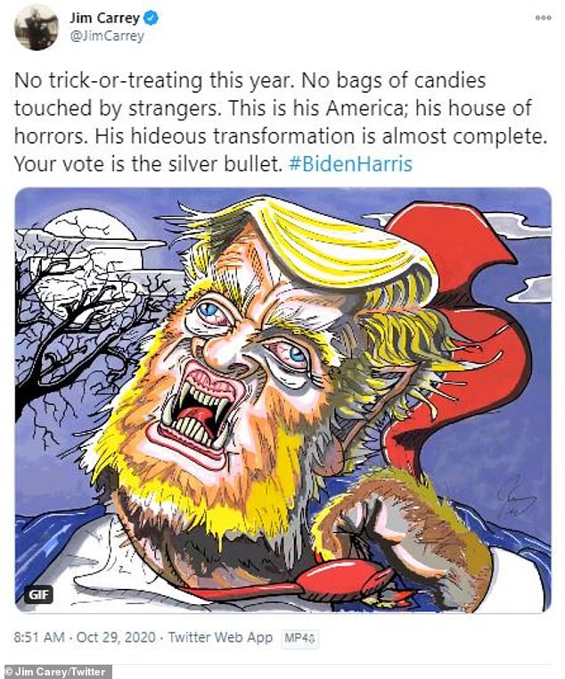 Fright night: He showed Donald Trump turning into a werewolf underneath a full moon ahead of the presidential elections