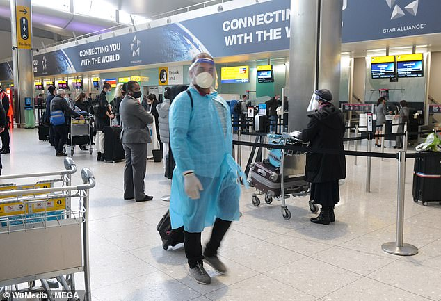 It is expected to cause a scramble for return flights as around 100,000 Brits are currently away in hotspots such as Dubai and the Maldives. Pictured: Heathrow last month