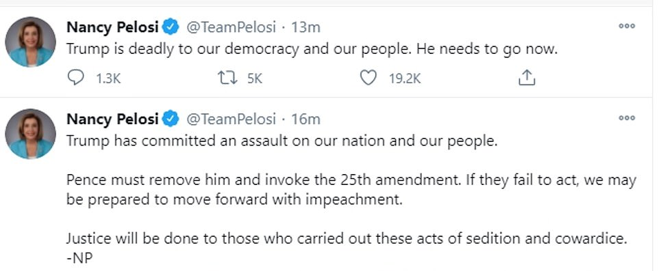 Pelosi tweeted shortly after her press conference: 'Trump is deadly to our democracy and our people. He needs to go now'
