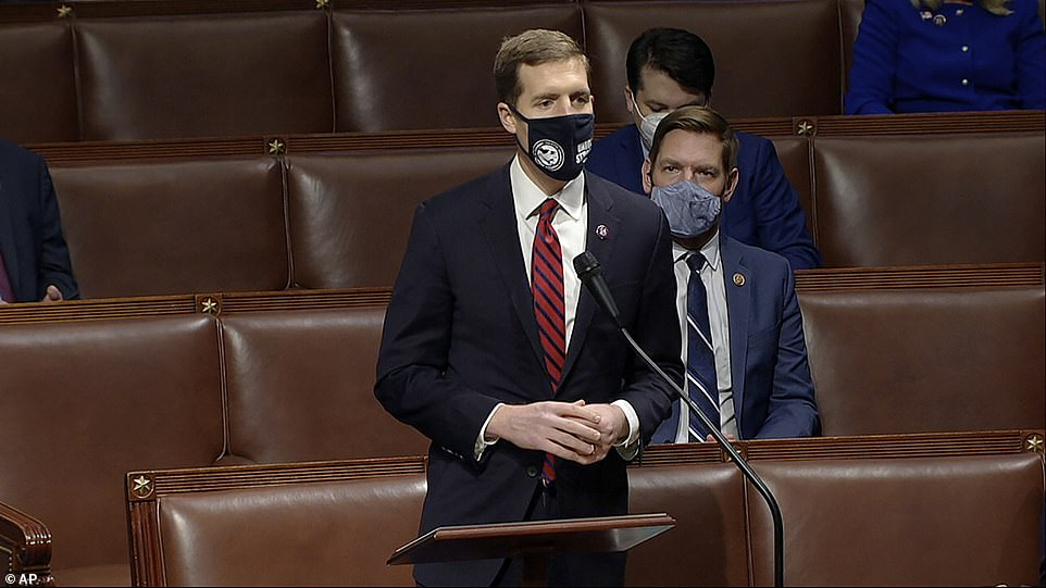 As 2 am neared, Rep Conor Lamb (pictured), a Pennsylvania Democrat who represents the Pittsburgh area, unloaded on the Republicans who objected to the vote from his state