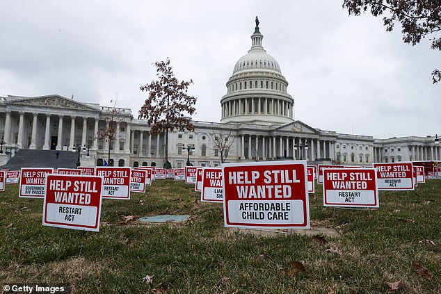 On Tuesday Goldman had 10,000 'Help Still Wanted' signs on the lawn of Capitol Hill as part of its push for lawmakers to offer more support for small businesses during the pandemic