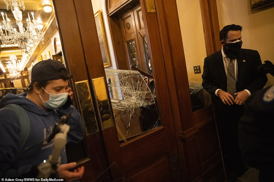 Several windows inside the Capitol were shattered during Wednesday's chaos at the Capitol