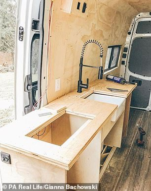 After initially selling their four-bedroom home, the couple used the money to finance the renovation of the first van