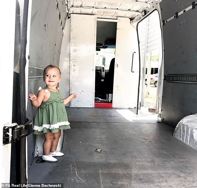 The couple, along with daughter Luna, converted the 90 sq ft van Mercedes van into the perfect mobile family home