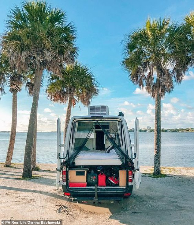 Jake and Gianna now post regular updates about their unconventional life on Instagram, where they have more than 52,000 followers (first van pictured in Florida)