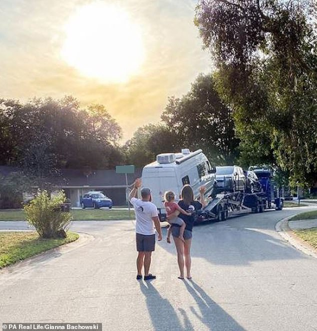 They headed back to Florida and began shopping around for bigger vans when they found out Gianna was pregnancy (pictured waving goodbye to their first van)