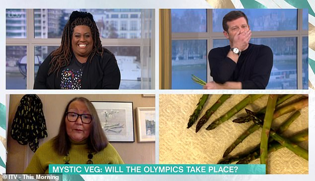 After throwing the vegetables onto a flat surface, Jemima deduced the Olympics will take place, but they will be 'remote' on Zoom - much to the amusement of Dermot O'Leary and Alison Hammond