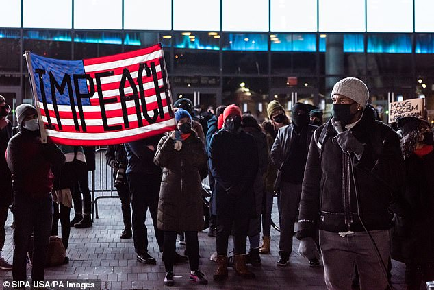 NEW YORK: Demonstrators outside the Barclays Center called for Trump to become the first president to be impeached twice