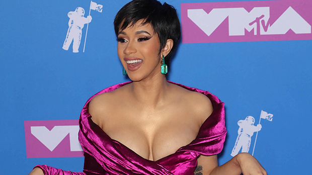 Cardi B Slays In Sexy Halter Crop Top & Unbuttoned Leather Pants — See Pic