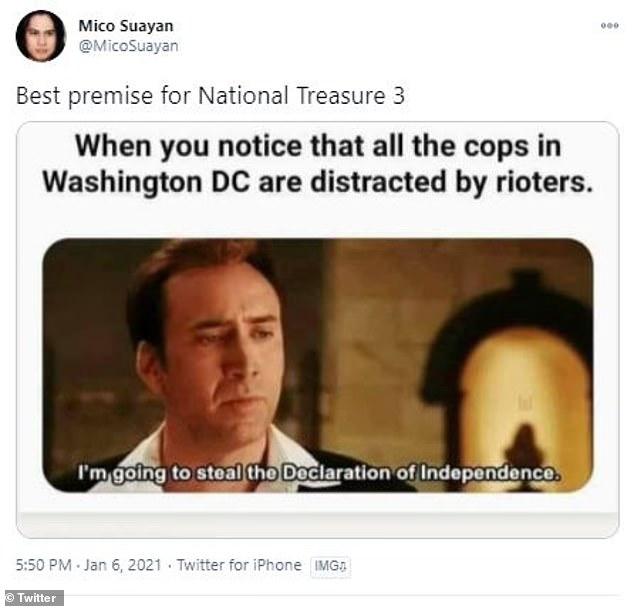 Now's the their chance: One person shared a National Treasure meme and joked that the best time to steal the Declaration of Independence was while police were occupied