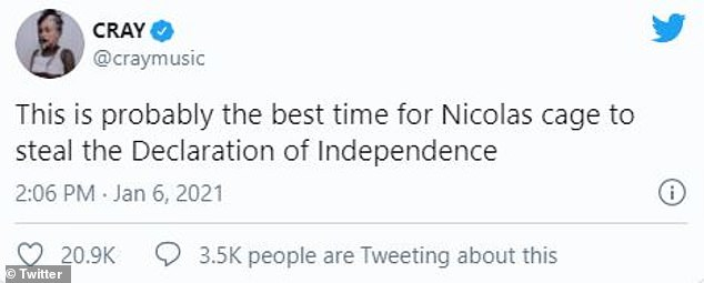 Leading man: Others joked about Cage as if he was his film character. 'this is probably the best time for Nicolas cage to steal the Declaration of Independence [sic],' one person tweeted