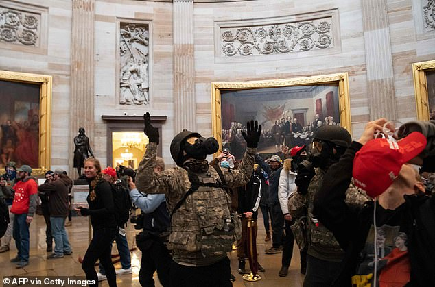 Trump supporters marched through the Capitol Rotunda after breaching what appeared to be flimsy security - a stark contrast with the heavy-handed crackdowns that Trump ordered against Black Lives Matter protesters last summer