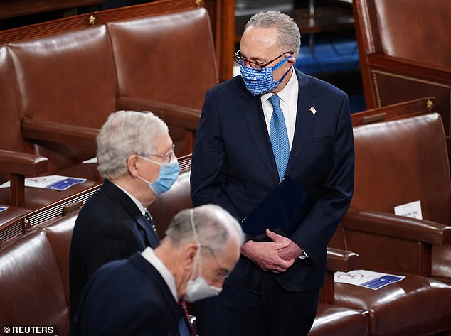 The Kentucky Republican proclaimed, 'Criminal behavior will never dominate the United States Congress.' Schumer followed, admitting that he didn't quite have the words to describe what happened Wednesday on Capitol Hill