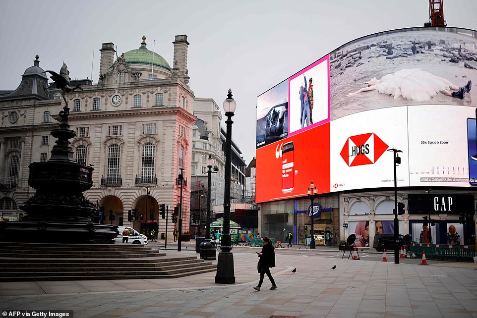 He said that over the last three days alone the NHS has announced 477 deaths in London hospitals following a positive test for Covid-19 (Piccadilly Circus pictured today)