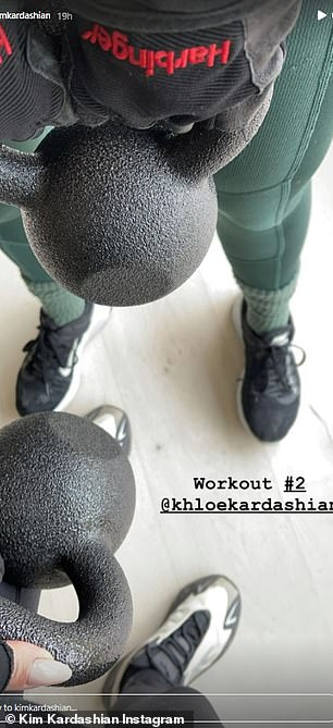She worked out with kettlebells in another session with sister Khloe