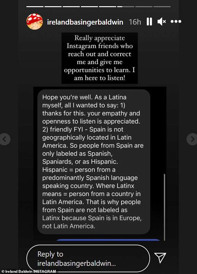'I am here to listen!' She sounded grateful after sharing a friends message correcting her on the use of 'Latinx,' which describes people from Latin America, versus 'Hispanic,' which refers to people from Spain or Spanish-speaking countries